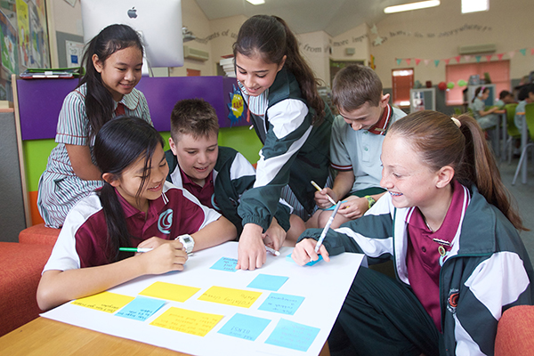 students doing group work